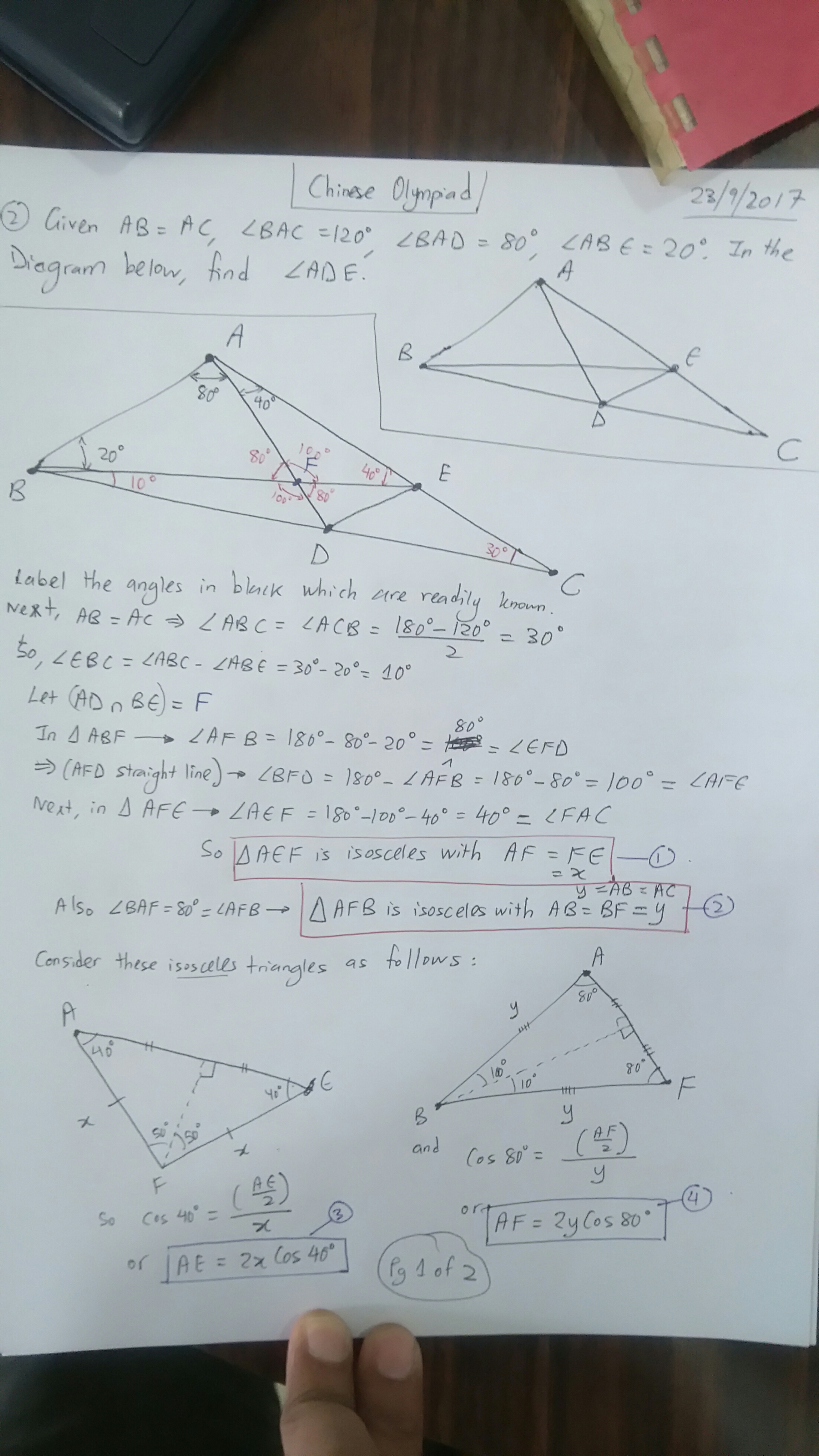 Finding an angle in a tough Math Olympiad Geometry Problem