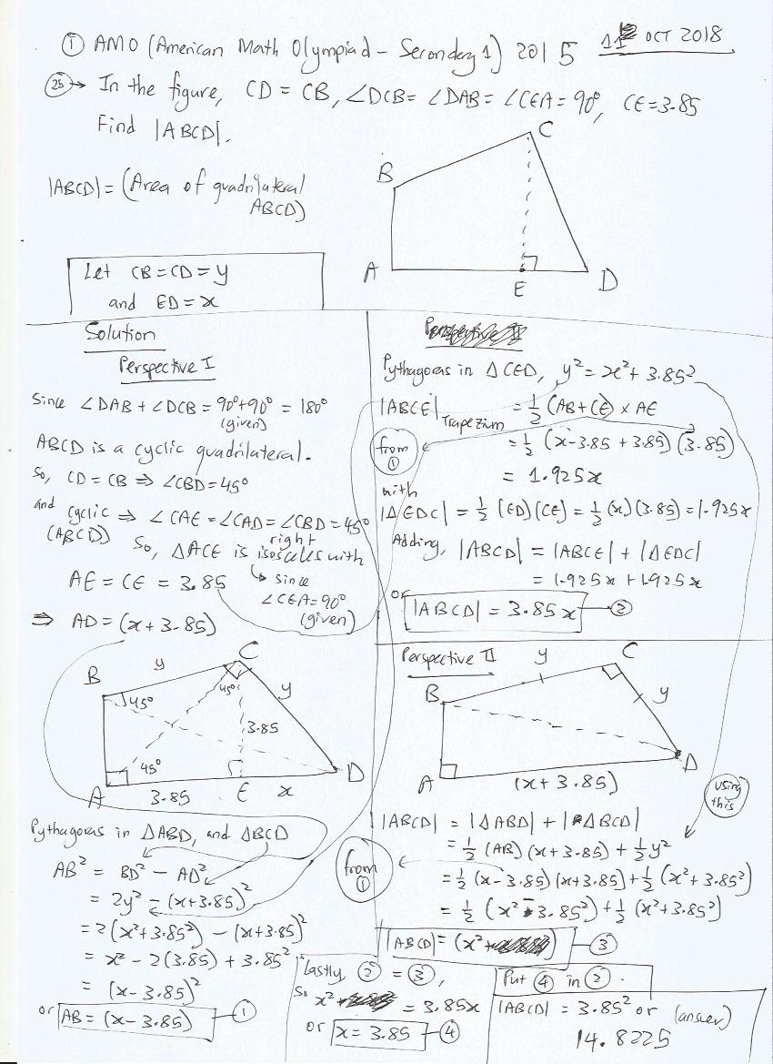 AMO 2015 Secondary 1 Question 25 Geometry Area - Right