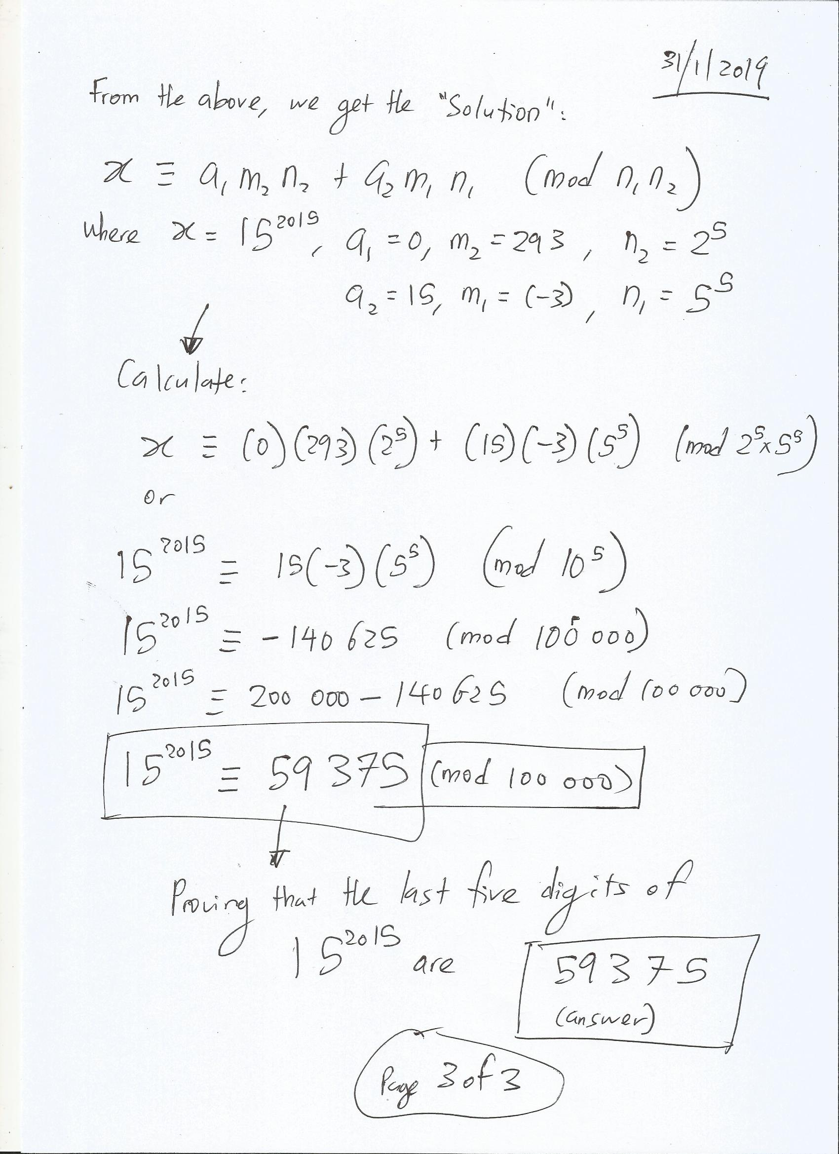 Chinese Remainder Theorem to find the Last Five Digits of 15^2015
