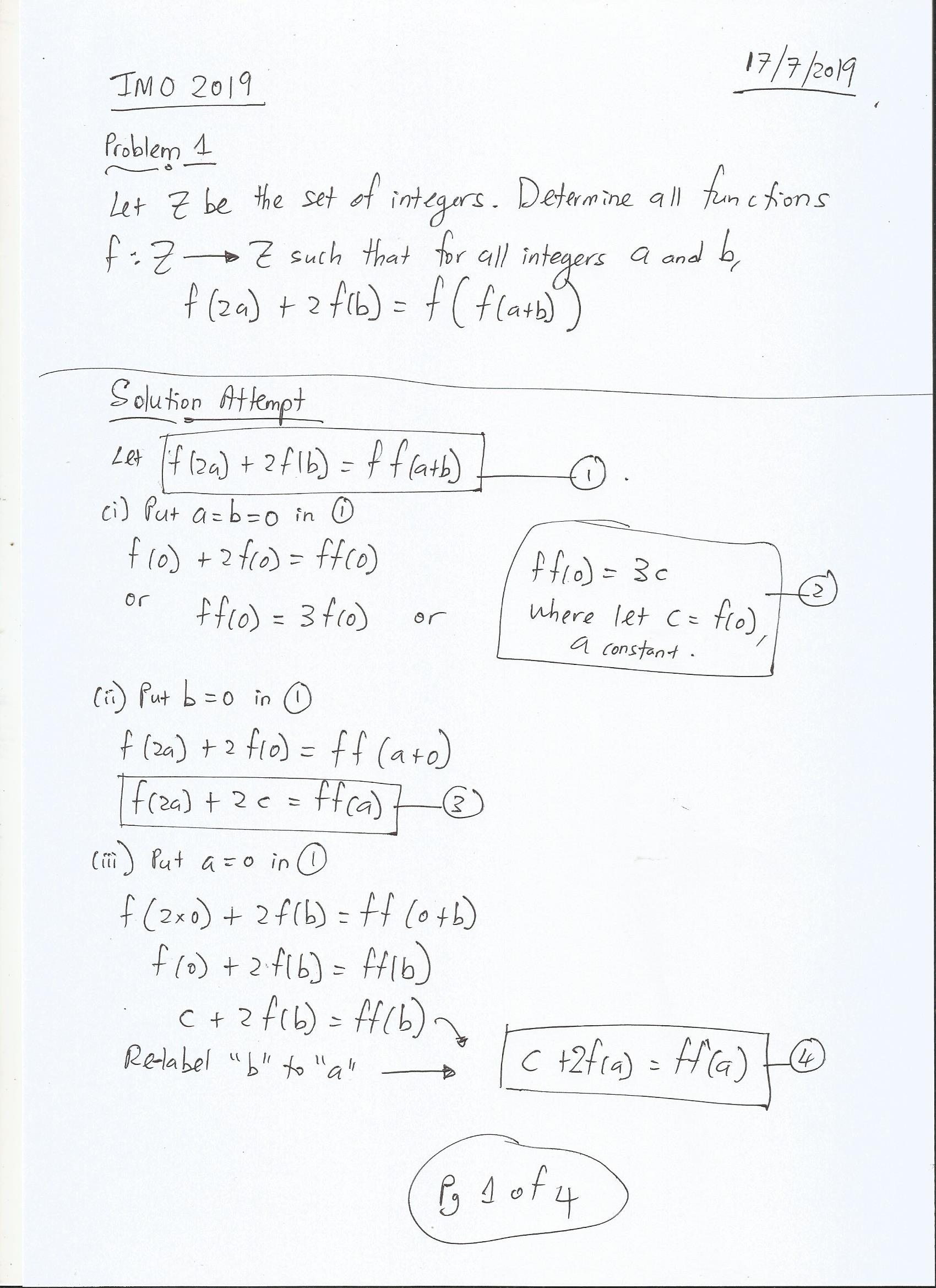 International Mathematical Olympiad IMO 2019 Problem 1