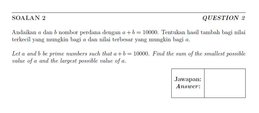 OMK 2018 Olimpiad Matematik Kebangsaan Malaysian Sulong Question and