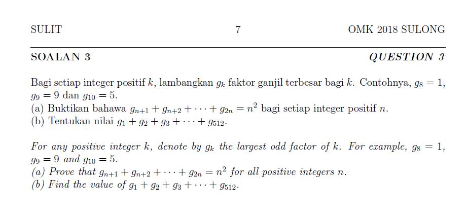 Soalan Olympiad Matematik Kebangsaan
